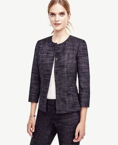 Petite fashion and style, petite work outfits, style inspiration, Ann Taylor Petite Crosshatch Tweed Peplum Jacket, Click to read more