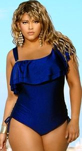 "This one shoulder ""España"" Ruffle Plus Size Swimsuit looks stylish and  sophisticated. Made 7a0e5efa0"