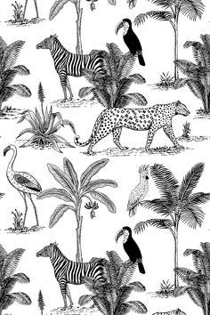 Jungle Illustration, Pattern Illustration, Botanical Illustration, Flamingo Illustration, Zebra Wallpaper, Animal Print Wallpaper, Pattern Wallpaper, Animal Print Background, Background Patterns