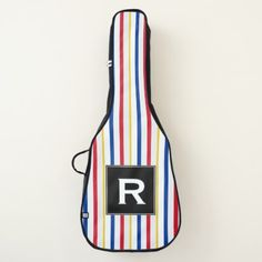 Initial  Ice Hockey Arena Rink-Inspired Stripes Guitar Case - initial gift idea style unique special diy