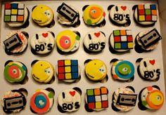 Galería de cupcakes para fiesta de los años 80.