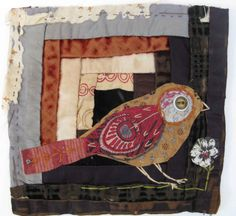 Log cabin patchwork with coordinating applique bird, highlighted against darker colours. Thread and Thrift Bird Applique, Embroidery Applique, Old Quilts, Mini Quilts, Fabric Birds, Fabric Art, Bird Quilt, Log Cabin Quilts, Textiles