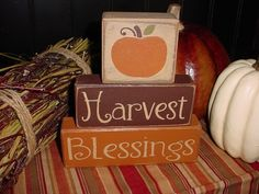 Harvest Blessings Wood Sign Shelf Blocks Primitive Country Rustic Holiday Seasonal Home Decor. $25.95, via Etsy.