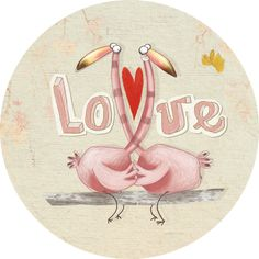 "Anna Laura Cantone carte postale ronde (13,8 cm) ""Love flamants roses"" Anna, Illustration Techniques, Sculpture Painting, Love Illustration, Valentine Day Love, Love Images, Illustrations, Painted Rocks, Flamingo"