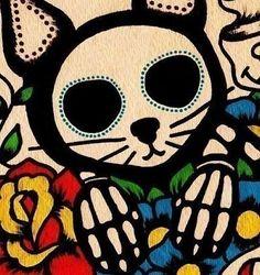 Día de muertos CAT Dia de los Muertos Art Print por illustratedink