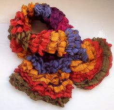 Ruffle scarf soft knit vegan fun novelty yarn by SpinningStreak