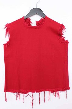 f64c7df25b7 Marques Almeida /MARQUES ALMEIDA sleeveless cut-off (S / red)  fringidenimkatsaw [imported from overseas] * N