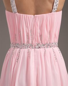 osell wholesale dropship Chiffon Ruffle Beading V Neck Floor Length Prom Dress $99.17