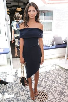 Chic Bodycon Off the Shoulder Navy Blue Elastic Satin Short Homecoming Dresses,Sexy Evening Cocktail Party Dresses - Cocktail dress - Sexy Dresses, Blue Dresses, Evening Dresses, Long Dresses, Cocktail Party Outfit, Party Dress, Navy Cocktail Dress, Looks Party, Emily Ratajkowski