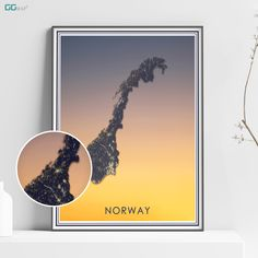NORWAY map - Norway sunset map - Travel poster - Home Decor - Wall decor - Office map - Norway gift - GGmap design - Kongeriket Norge Office Wall Decor, Wall Art Decor, Norway Map, Cologne Germany, Country Maps, Custom Map, All Poster, Metallic Colors, Travel Posters