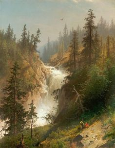 Hermann Ottomar Herzog - View of the Cascades Landscape Photos, Landscape Art, Landscape Paintings, City Painting, Oil Painting Abstract, Painting Art, Great Paintings, Nature Paintings, Waterfall Paintings