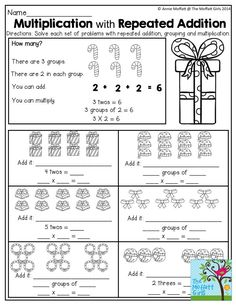 grade  word problems  mathmultiply  pinterest  math word  multiplication and repeated addition tons of great worksheets in the  december no prep packets