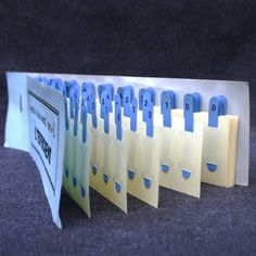 Blue celluloid numbered bookmarks