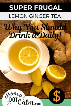 Imagine a drink that cost pennies to make, has loads of health benefits and tastes great? That's lemon ginger tea. When we started our journey towards better financial health, one of our first spending habits… Ginger Lemon Honey Tea, Lemon Ginger Tea Benefits, Tumeric And Ginger, Health Benefits Of Ginger, Ginger Drink, Cooking With Ginger, Eat On A Budget, Homemade Tea, Tea Recipes