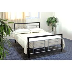 Twin Size Metal Platform Bed Frame In Black And Silver W Headboard Footboard