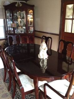 THOMASVILLE Cherry Dining Room Set Queen Anne Table 6 Chairs Leaf