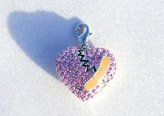CHD & HLHS Awareness Mended Heart in pink crystals, congenital heart defect charm jewelry