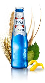 Kronenbourg Blanc - the only beer I really like. cool blue bottle