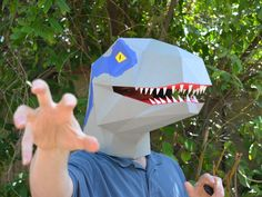 Fabulous DIY velociraptor mask! Very Jurassic World!