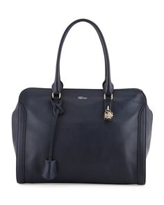 Medium Padlock Satchel Bag, Navy - Alexander McQueen