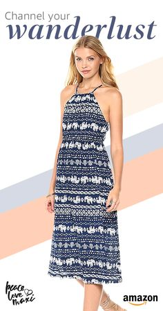 f6db9666171 Amazon.com  Peace Love Maxi Women s Summer Elephant Printed Midi-Length  Dress  Clothing