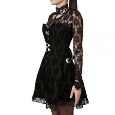 Lullaby Gothic Overbust Corset for Women | Vintage Goth | A corseted dress that is as elegant and classy as it is fun and chic! While the top part comprises of an authentic steel boned over-bust corset; the bottom part is a sexy skirt that carries the pattern and beauty of the top corset part!