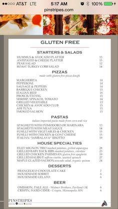 Pinstripes gf menu