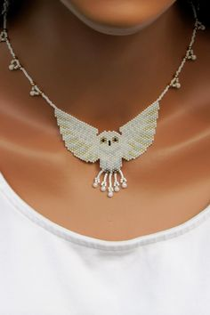 White Owl Bead-Woven Necklace.