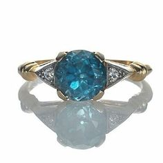 Art deco blue Zircon engagement ring from Leigh Jay Nacht