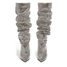 Saint Laurent Niki crystal-embellished over-the-knee boots ❤ liked on Polyvore featuring shoes, boots, above-knee boots, over-knee boots, yves saint laurent boots, thigh boots and over the knee boots