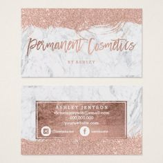 Microblading eyebrows tattoo permanent makeup business card cosmetics rose gold typography glitter marble business card colourmoves