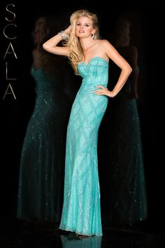 #SCALA Spring 2016 style 47706 Aqua! #scalausa #spring2016 #prom2016 #gown #promdress #eveningwear #dress #sequins #specialoccasion #prom2k16 www.scalausa.com