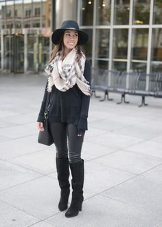 SHOP THE LOOK: Faux Leather Pants: BLANK Denim| Sweater: J.Crew | Scarf: Burberry (similar version) ...