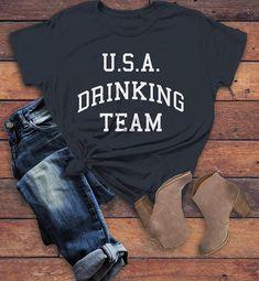 ec52f6b78 Women s U.S.A. Drinking Team T-Shirt 4th July Shirts By Sarah Tee