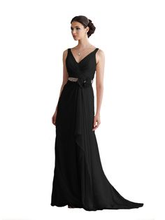 Mother of the Bride Dress from Montage by Mon Cheri 110906. Sleeveless silk chiffon dress with mock wrap ruched bodice, ruched waist accented with hand beaded belt and flower, full A-line skirt. Silk Chiffon.