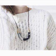 #balilla #beauti #style #fashion #outfit #onefashionbudapest #hungary #designer Bar Necklace, Washer Necklace, Arrow Necklace, Pendant Necklace, Brass Fittings, Granite, Chunky Knits, Knitting, Hungary
