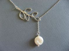 Lariat Style Branch and Pearl Necklace