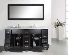 Contemporary Double Sink Bathroom Vanity with Cabinets
