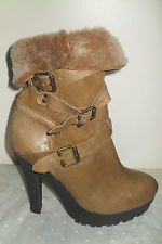 TOPSHOP Tan Leather Buckle Detail Pull on Fur Lined Platform Ankle Boots Size 39