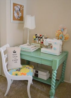 Sewing station so cute