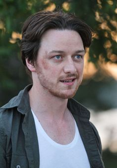 """James McAvoy as Conor Ludlow on July 9, 2012, the first day of filming in NYC of Disappearance of Eleanor Rigby. The bruising is make-up after an """"intense scene"""" according to witnesses."""