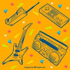 80年代オブジェクトのスケッチとメンフィス黄色の背景 無料ベクター