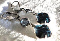 Midnight Blue Velvet Swarovski Crystal Earrings by jlisiecki