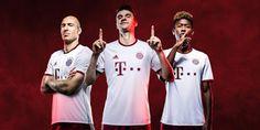 Nouveau maillot de foot Bayern Munich Troisieme 2016 2017 est blanc avec des accents en argent et rouge.