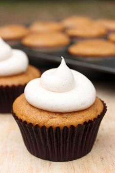 Pumpkin Cupcakes with Cinnamon Cream Cheese | TheCakeBlog.com