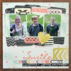 Back to school layout: Way to use journaling cards  as layers.