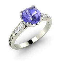 Round Tanzanite Ring in 14k White Gold with SI Diamond