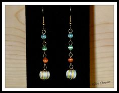 Blue, Green & Orange Beaded Earrings - pinned by pin4etsy.com