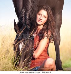 beautiful girl on horse   Young Beautiful Girl With A Horse Stock Photo 71610814 : Shutterstock