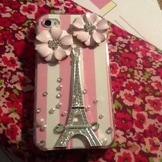 DIY iPhone case. Added scrapbook paper and flat back